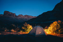 Camping Tent of Dessert Under Deep Blue Sky Stock Photography