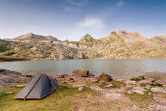 Camping Tent by Estanes Lake during sunsrise Royalty Free Stock Photography