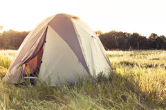 Camping tent on field Stock Image