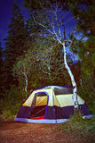 Camping tent in the forest at night Royalty Free Stock Photos
