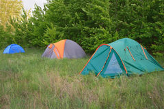 Camping tent in the forest Stock Image