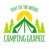 Camping tent graphic. With trees and sunset Stock Photography