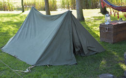 Camping tent. Green camping tent on grass in forrest royalty free stock photos