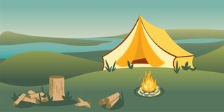 Camping tent on hill flat vector illustration. Picturesque panoramic landscape color drawing. River morning view. Tranquil and peaceful scenery. Bonfire stock illustration
