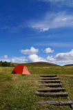 Camping tent on the hill, Iceland. Stock Photo