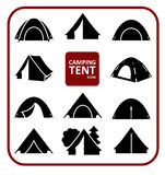 Camping tent icons set. Set of monochrome silhouette camping tent icons. Collection of black stylized simplified symbols isolated on white background. Vector stock illustration