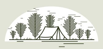 Free Camping Tent In Pine Forest Vector Linear Illustration Isolated On White, Holidays And Vacations In Woods Line Art, Design Stock Photo - 213042000