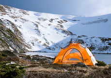 Camping Tent by the Lake in Colorado Stock Image