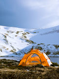 Camping Tent by the Lake in Colorado Stock Images
