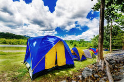 Camping with tent. In the lake side royalty free stock photography