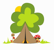 Camping site in the forest for a nice holiday. Camping tent like tree with four mushrooms and green grass Royalty Free Stock Photo