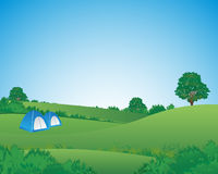 Camping Tent Meadows. Tent pitched in a campsite landscape background illustration Royalty Free Stock Photography