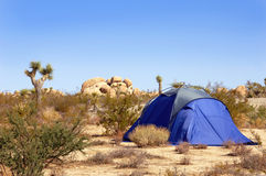 Camping Tent in the Mojave Desert Stock Photo