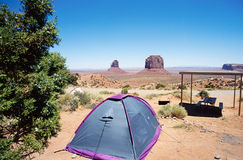 Camping tent Monument valley landscape in USA Stock Image