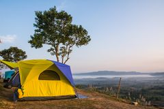 The Camping tent. On mountain Stock Image