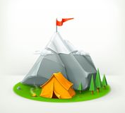 Camping tent and mountain Stock Photography