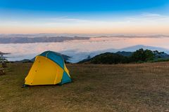 Camping tent on the mountain stock photos