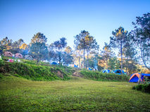 Camping Tent in mountains. Tourist orange tent in mountains in thailand Stock Image