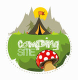 Camping site in the forest for a nice holiday. Camping tent with mushrooms and green grass, sun and mountain behind Royalty Free Stock Image