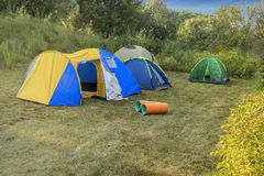 Camping tent in the nature. Camping tent in nature on a clear day Royalty Free Stock Photo