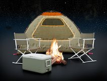 Camping tent on night background. 3D illustration Royalty Free Stock Photography
