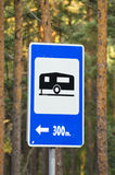 Camping and tent place sign in resort forest Royalty Free Stock Images