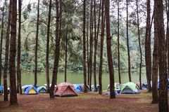Camping tent by the river. Background royalty free stock image