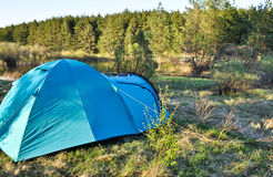 Camping tent on the river Bank. Stock Photography