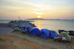Camping tent at sea side Khao Leam Ya marine national park with Royalty Free Stock Photography
