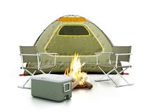 Camping tent, seats, fire and cooler on white background. 3D illustration. Camping tent, seats, fire and cooler isolated on white background. 3D illustration Stock Photos