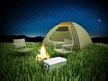 Camping tent, seats, fire and cooler on night background. 3D illustration.  Royalty Free Stock Images