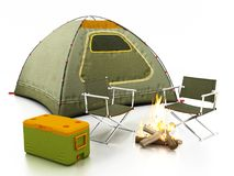Camping tent, seats, fire and cooler on white background. 3D illustration. Camping tent, seats, fire and cooler isolated on white background. 3D illustration Stock Image