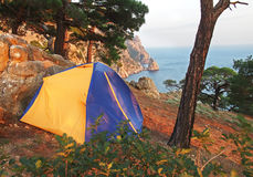 Camping tent on a shore in a morning light Stock Images