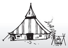 Camping tent sketch Royalty Free Stock Images
