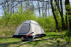 Camping tent on sunny grassland,. Already set to use Royalty Free Stock Images