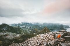 Camping tent on the top of mountain landscape stock image