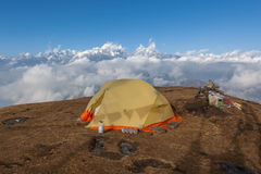 Camping tent on the top of the Pikey Peak. Stock Image