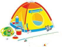 Camping tent of a tourist Royalty Free Stock Image