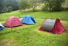 Camping tents. In a green grass Royalty Free Stock Photo