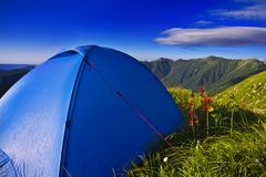 Camping tents. In the mountains Royalty Free Stock Photo