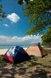 Camping Tents. By the ocean stock image
