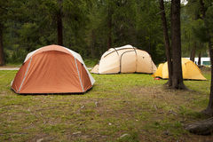 Camping tents. In a green grass Royalty Free Stock Photos