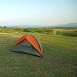 Camping tents at a camp site Royalty Free Stock Photography