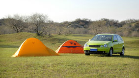 Camping tents and cars Stock Photos