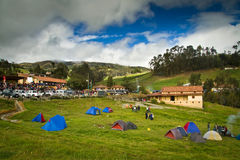 Camping tents for the celebration of Inti Raymi Royalty Free Stock Photography