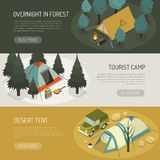 Camping Tents Choices Horizontal Banners Set. Camping tents choices tips for different purposes and capasity 3 horizontal banners webpage design isolated vector Stock Image