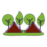 Camping tents in forest. Cartoon vector illustration graphic design royalty free illustration