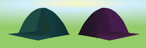 Camping tents green and purple. Vector stock illustration