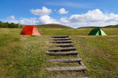 Camping tents on the hill,Iceland. Stock Photo