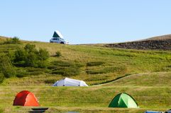 Camping tents on the hill in Iceland. Stock Photography